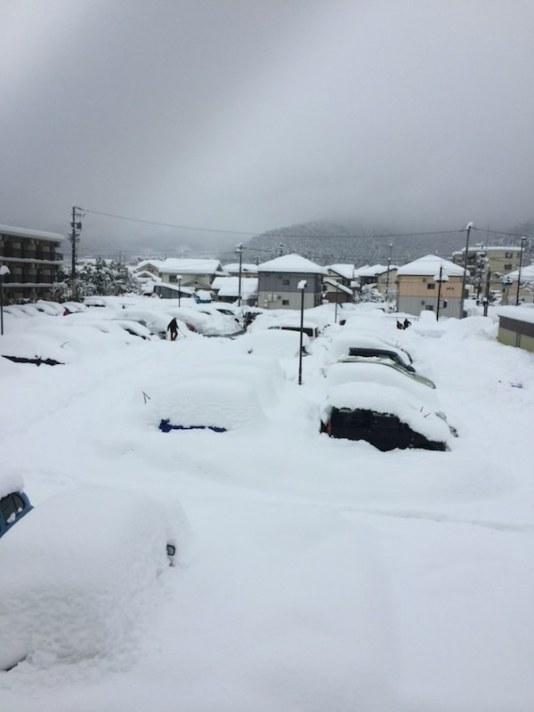 積雪の長野県の様子