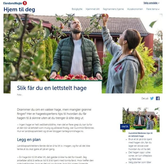 Nettartikkel om lettstelt hage. Landskapsarkitekt Gunnhild Bårdsnes