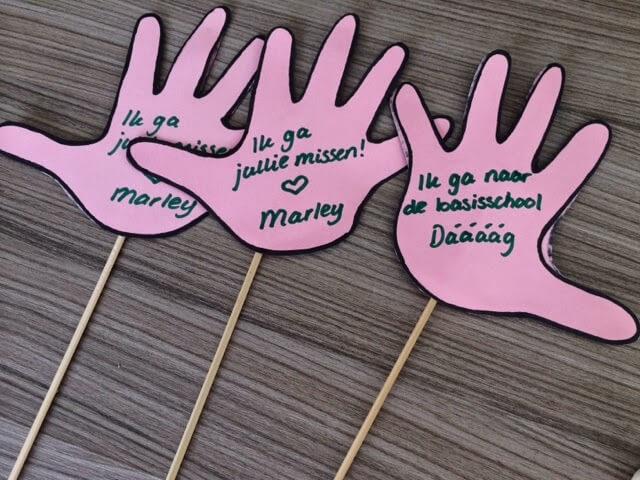afscheidstraktatie voor het kinderdagverblijf handjes geknipt