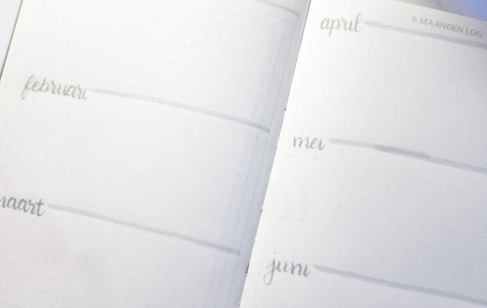 Bullet journal setup voor 2019 zes maanden log