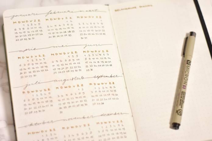 bullet journal in 2020 jaarkalender