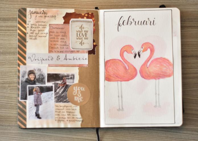 bullet journal in februari voorpagina