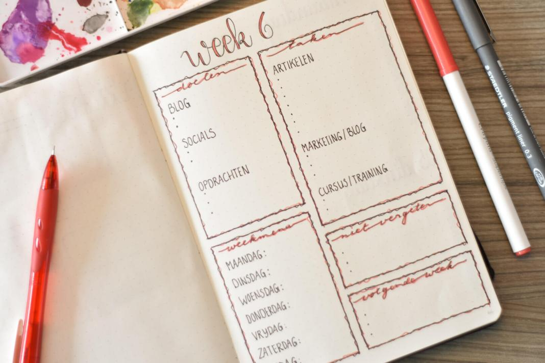 bullet journal in februari weekoverzicht