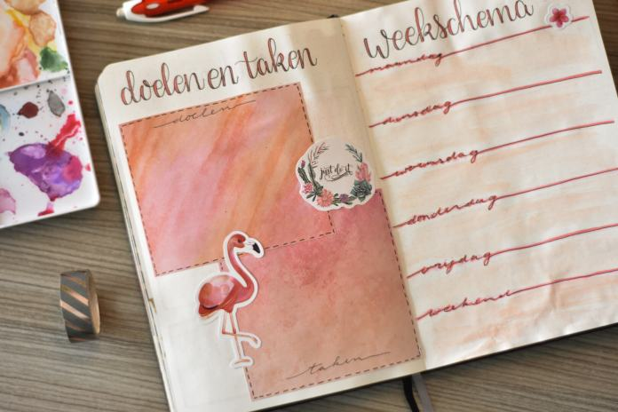 bullet journal in februari weekschema