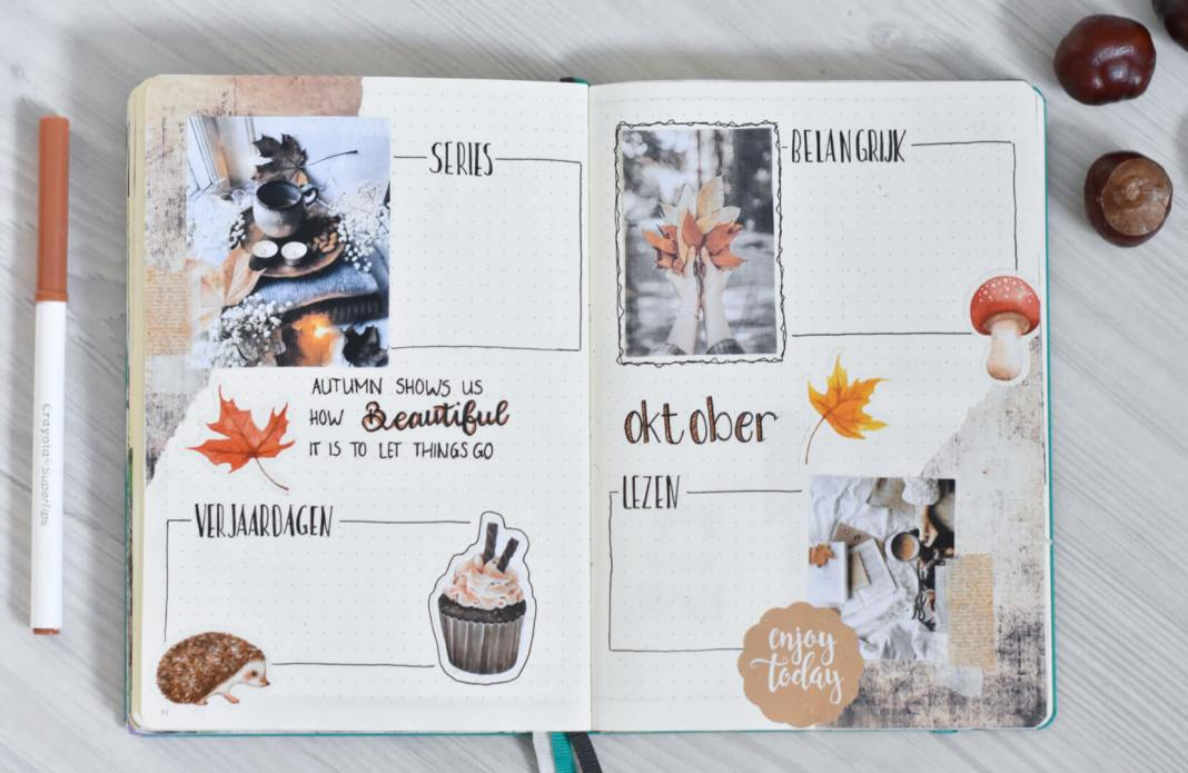 bullet journal in oktober maandoverzicht