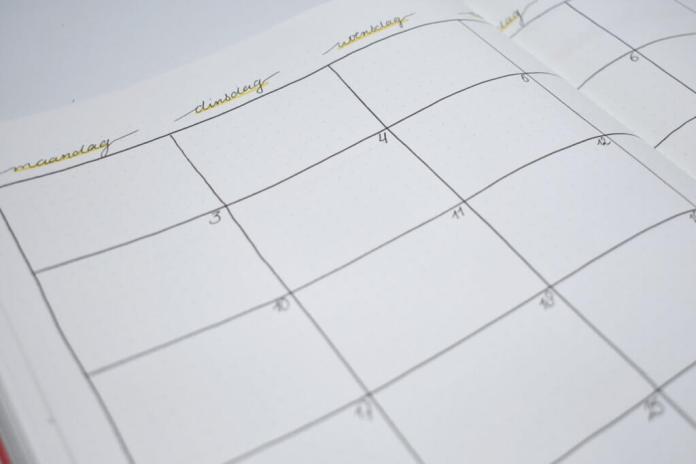 bullet journal setup voor september maandoverzicht