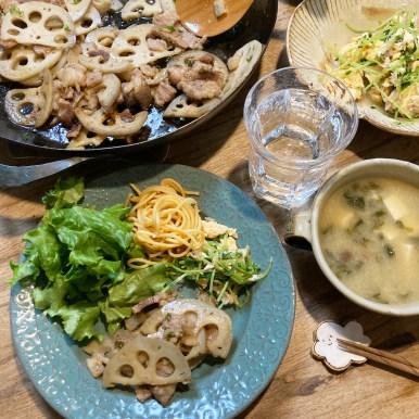 レンコンと豚バラの炒め物