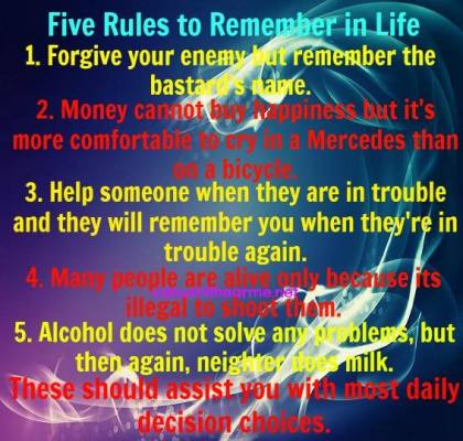 5 rules to remember...snarky tips