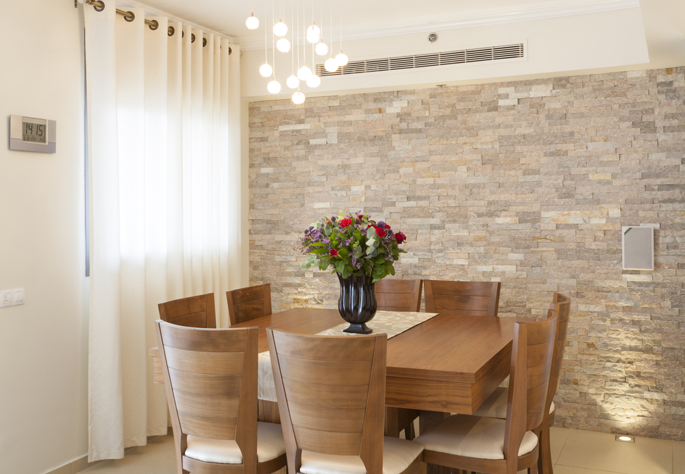 Catchy Ideas For Stone Wall Dining Room
