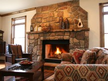 Western Living Room with Stone Fireplace