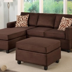 Chocolate Brown Leather Sectional Sofa With 2 Storage Ottomans Factory Strand 2018 Latest Ideas