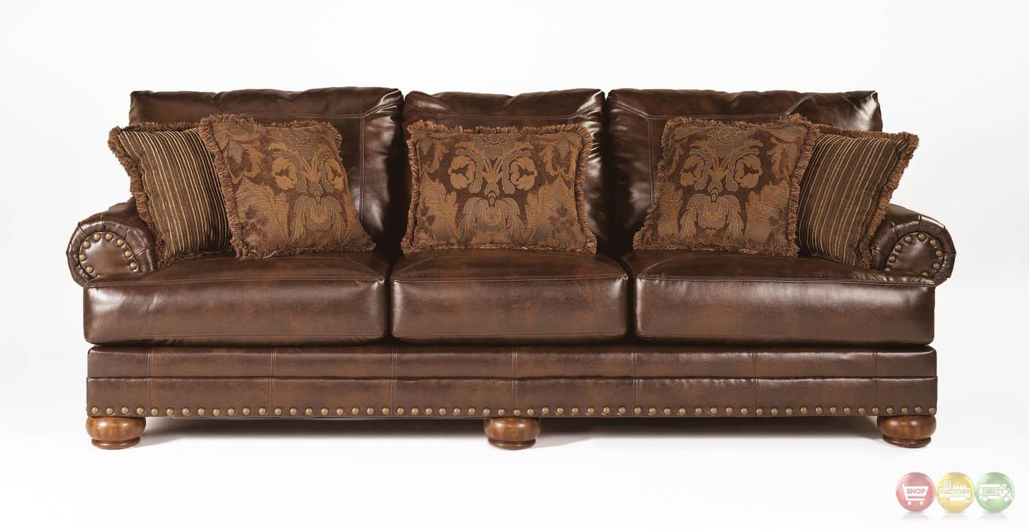 ashley bonded leather sectional sofa corner gumtree glasgow 20 43 choices of brown sofas with nailhead trim