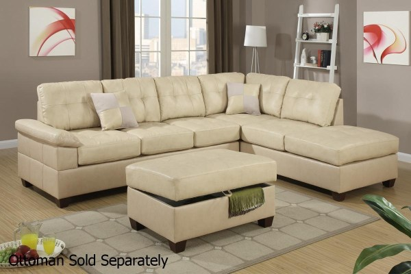 Beige Leather Sectional Sofa