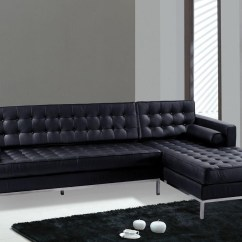 816 Modern Black And White Leather Sectional Sofa 4 Piece Sleeper Cover Contemporary 2 Seater