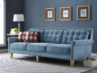 2018 Latest Blue Velvet Tufted Sofas