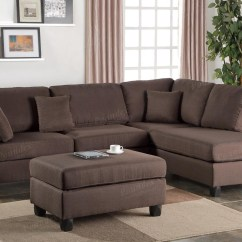 Chocolate Brown Leather Sectional Sofa With 2 Storage Ottomans Kirkdale Kensington Bed 20 Best Collection Of Chaise And Ottoman