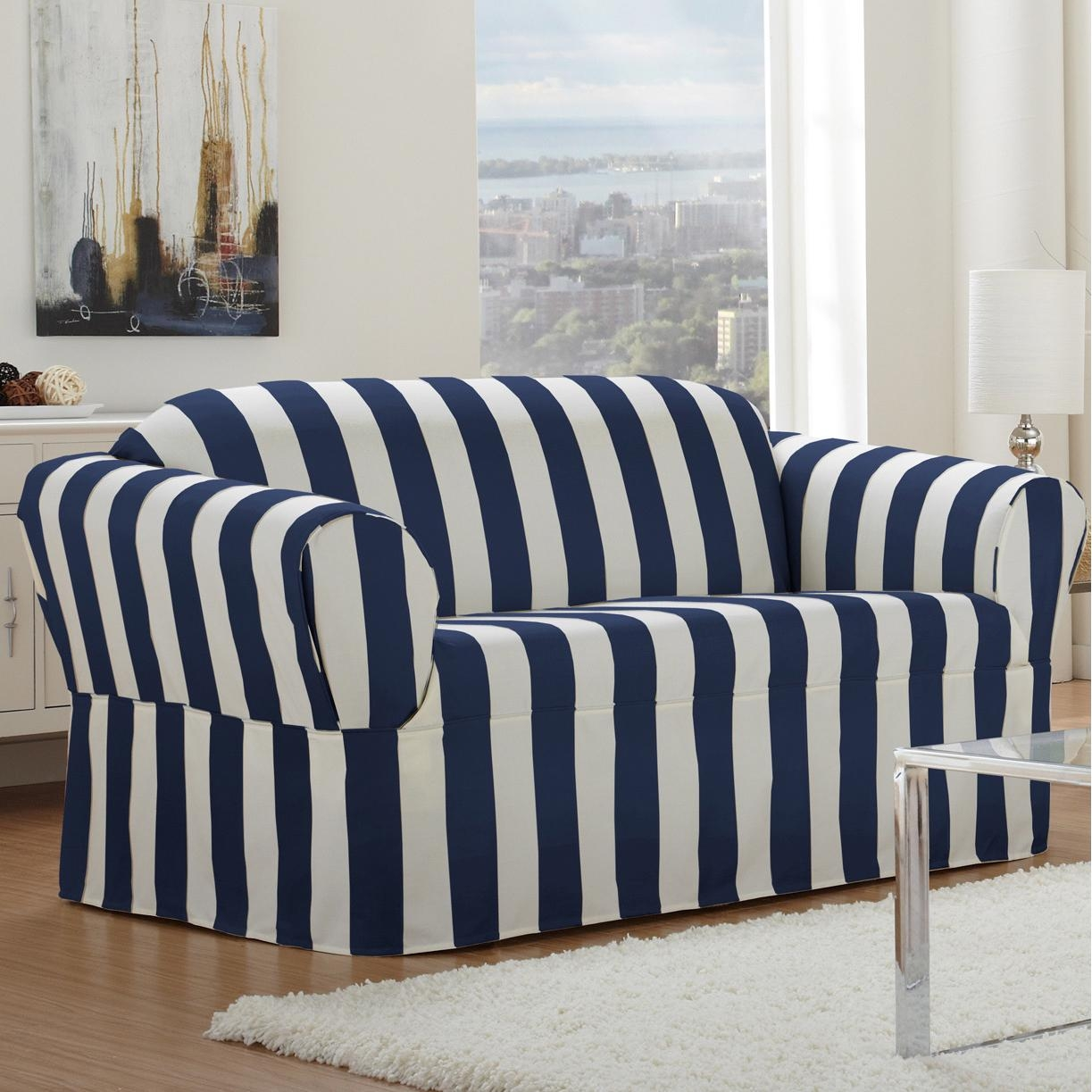 white and blue sofa futon bed singapore 20 43 choices of striped slipcovers ideas