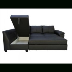 Black Leather Corner Sofa Bed Heated Cushion 2018 Latest Ideas