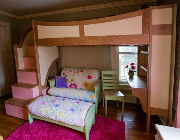 Girls Bunk Beds with Stairs and Desk