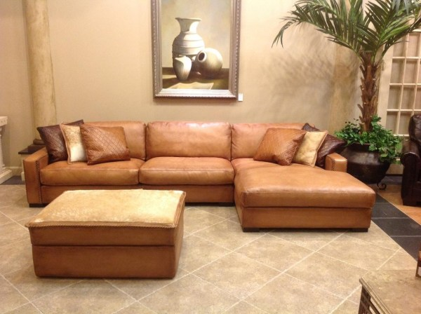 Ideas Deep Seat Leather Sectional Sofa