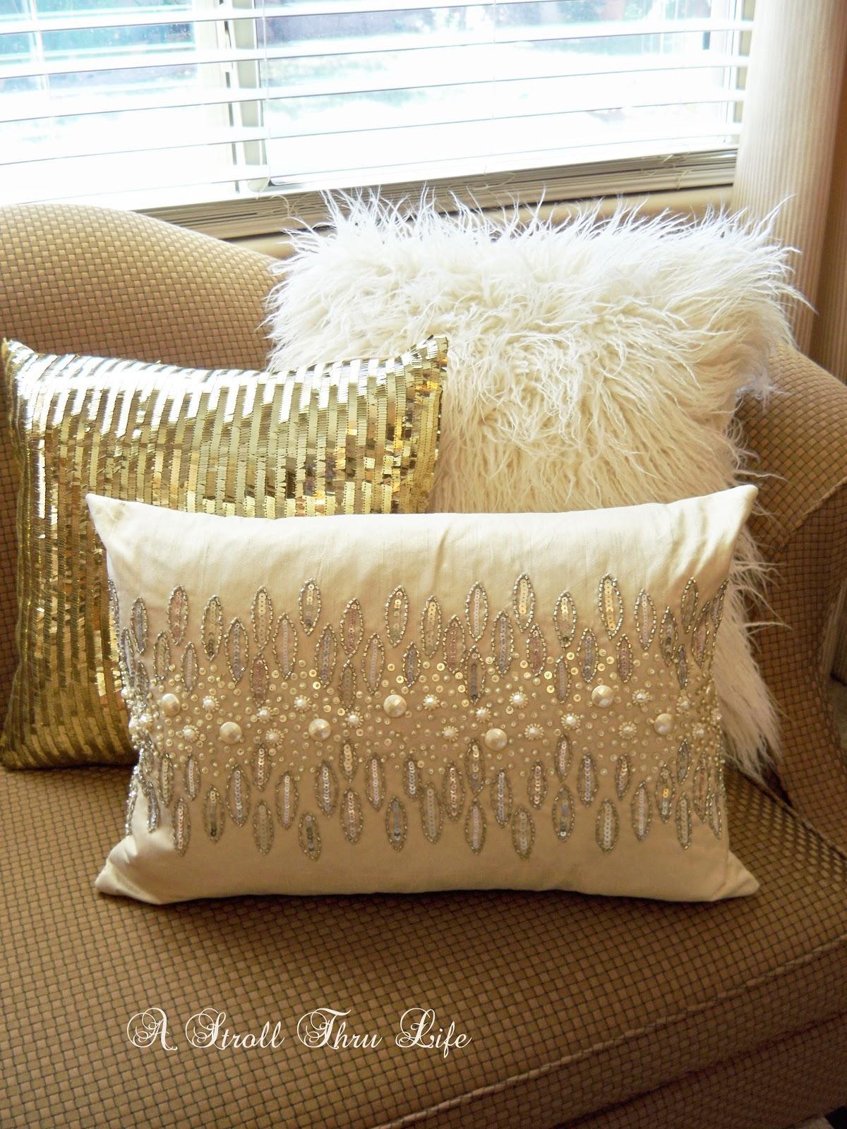 gold throws for sofas rustic sofa table ideas pillows monroe velvet stripes 16x24 throw