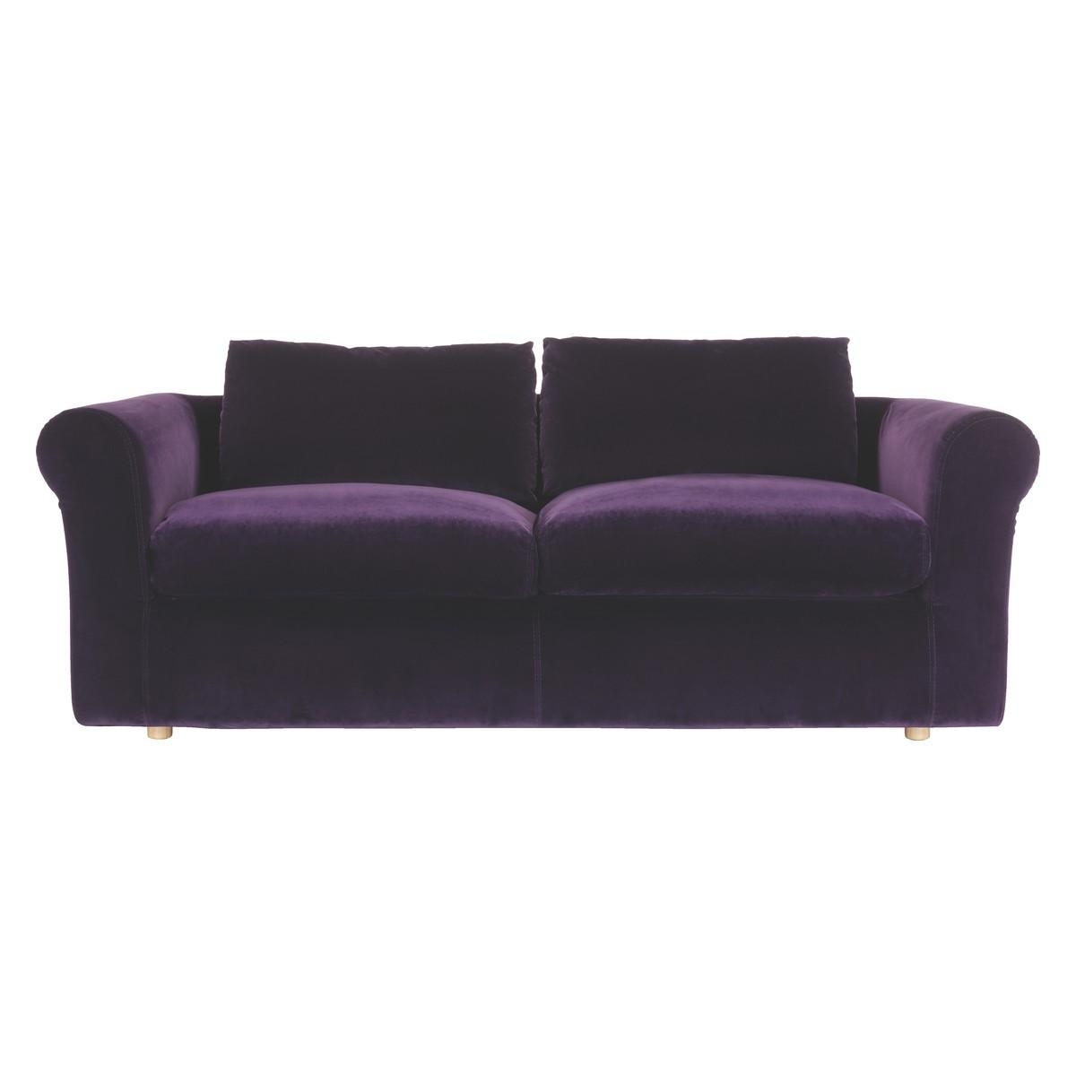 purple velvet upholstered sofa 2 places 20 inspirations sofas ideas