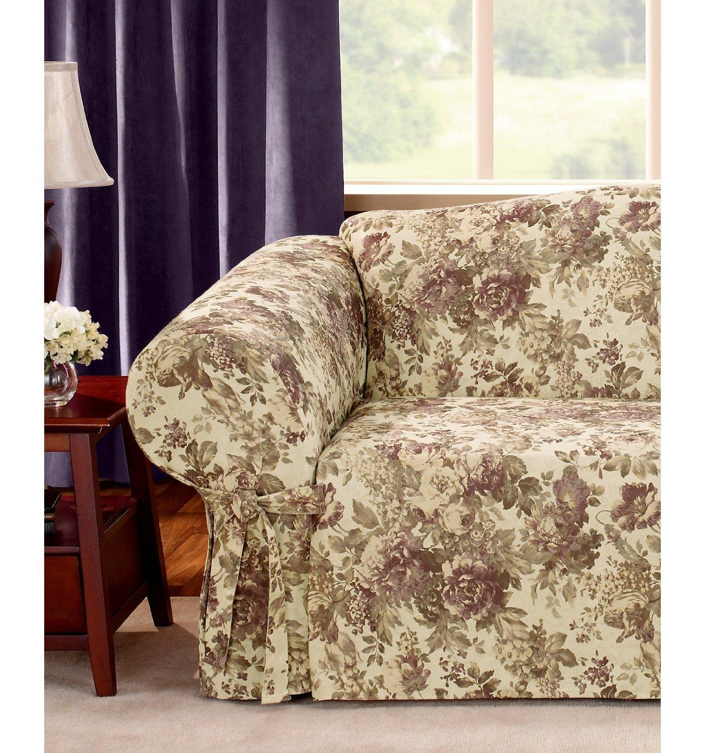 flower sofa covers leather sleeper with nailheads 20 inspirations floral slipcovers ideas