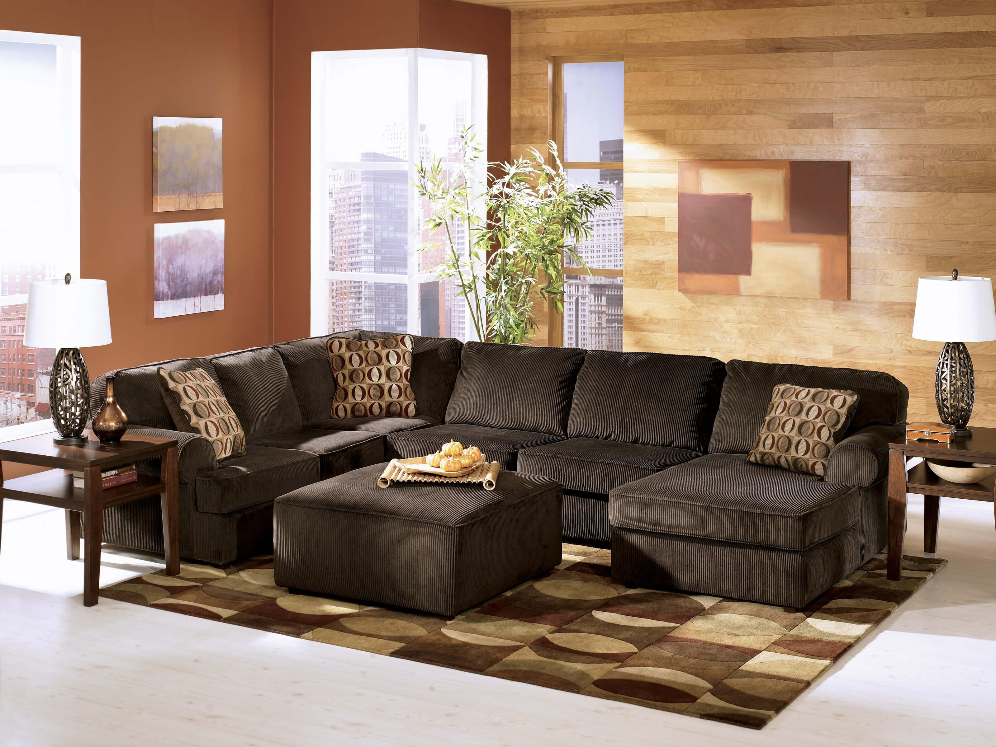corey chocolate brown sectional sofa green chair covers 15 43 choices of ideas