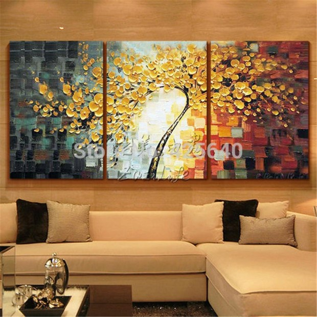 three panel canvas art home design ideas