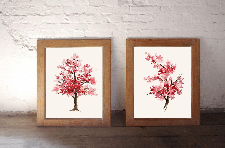 2019 Latest Red Cherry Blossom Wall Art  Wall Art Ideas