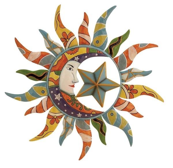 Sun Moon Outdoor Metal Wall Art