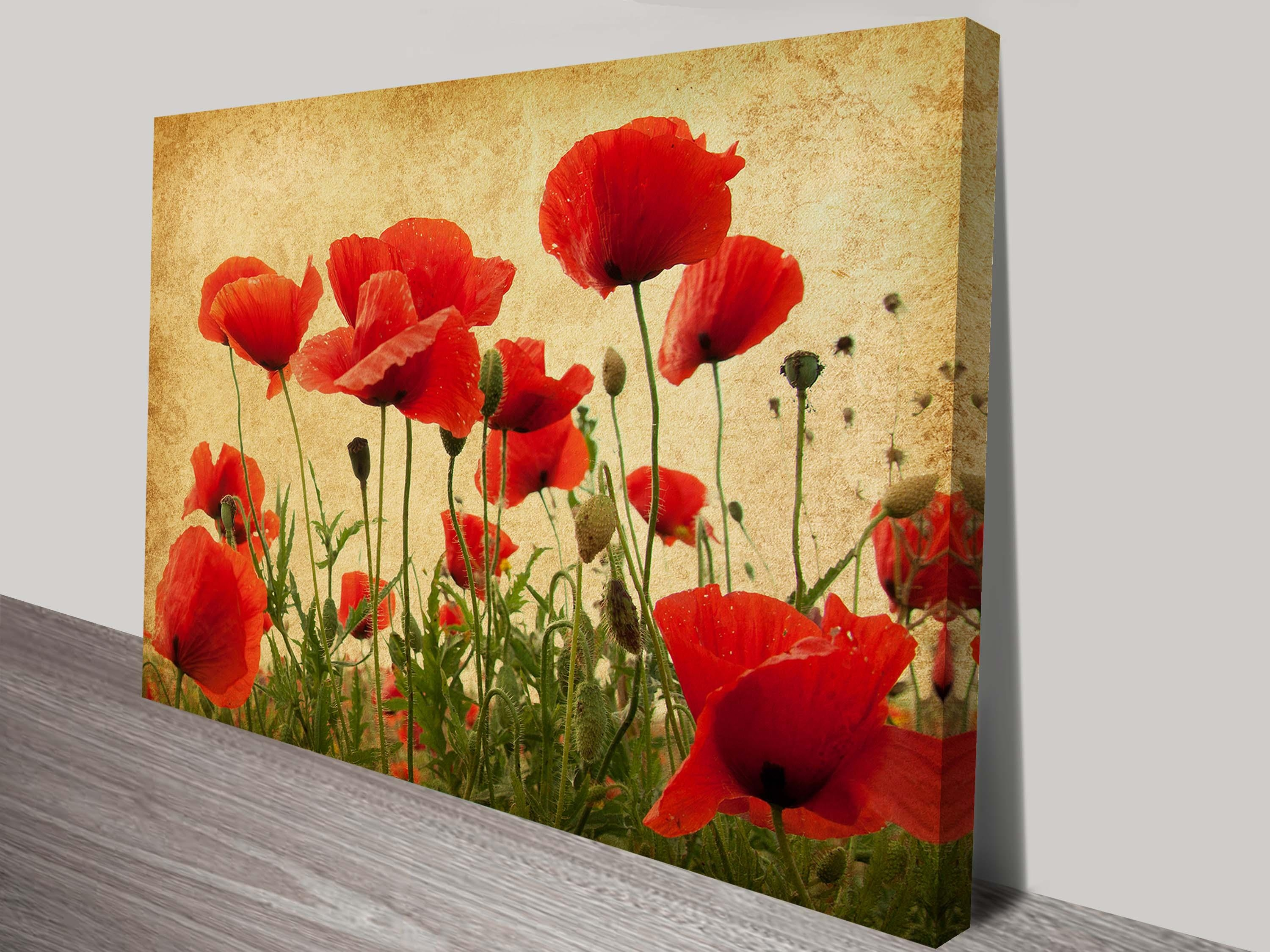 Red Poppies Canvas Wall Art - showing gallery of red poppy canvas ...