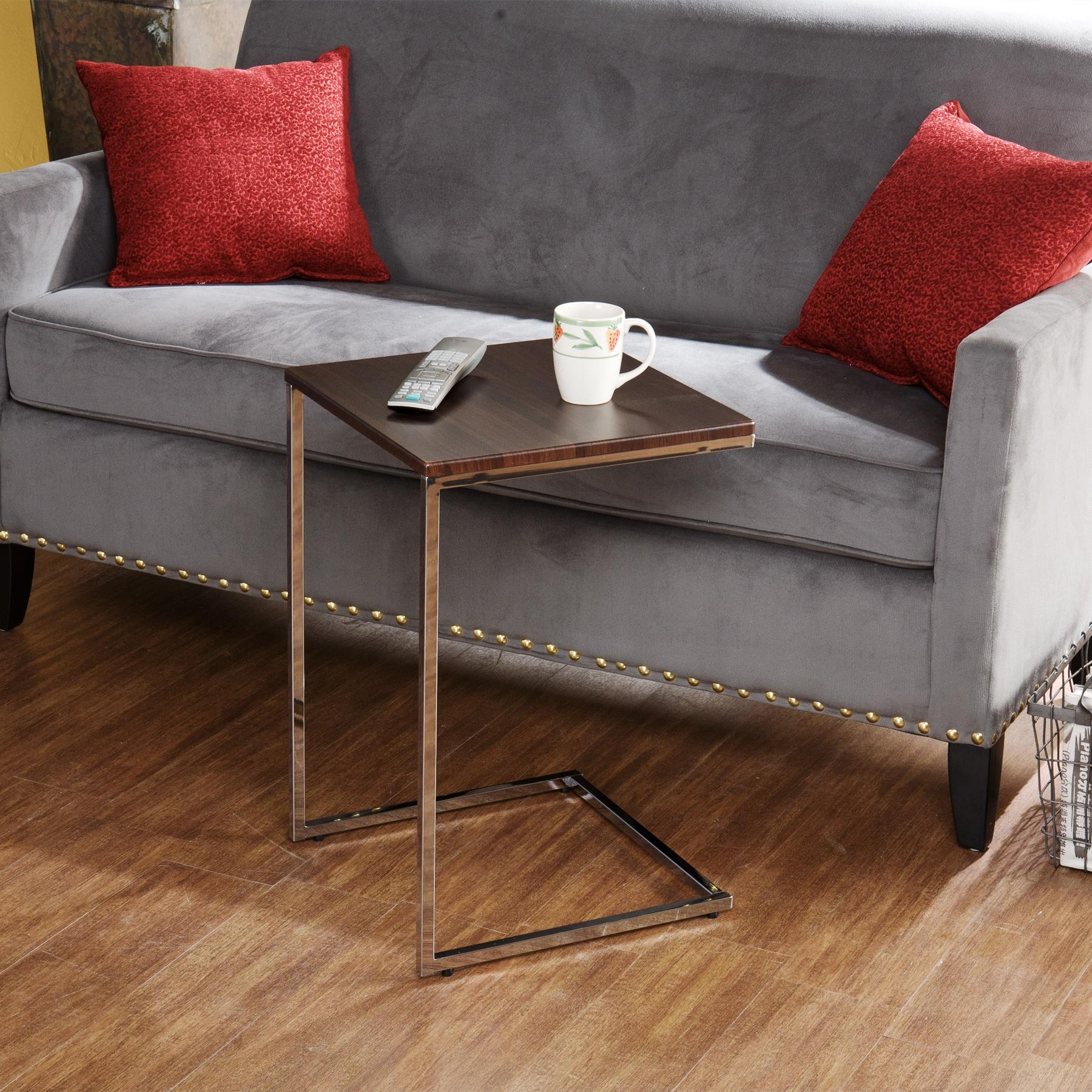 slide under tv tray sofa table genuine black leather sectional 21 photos snack ideas
