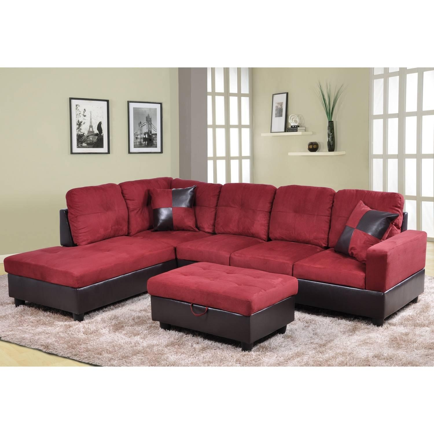 red microfiber reclining sofa 597 casual sectional with right side chaise by franklin 21 best ideas sofas