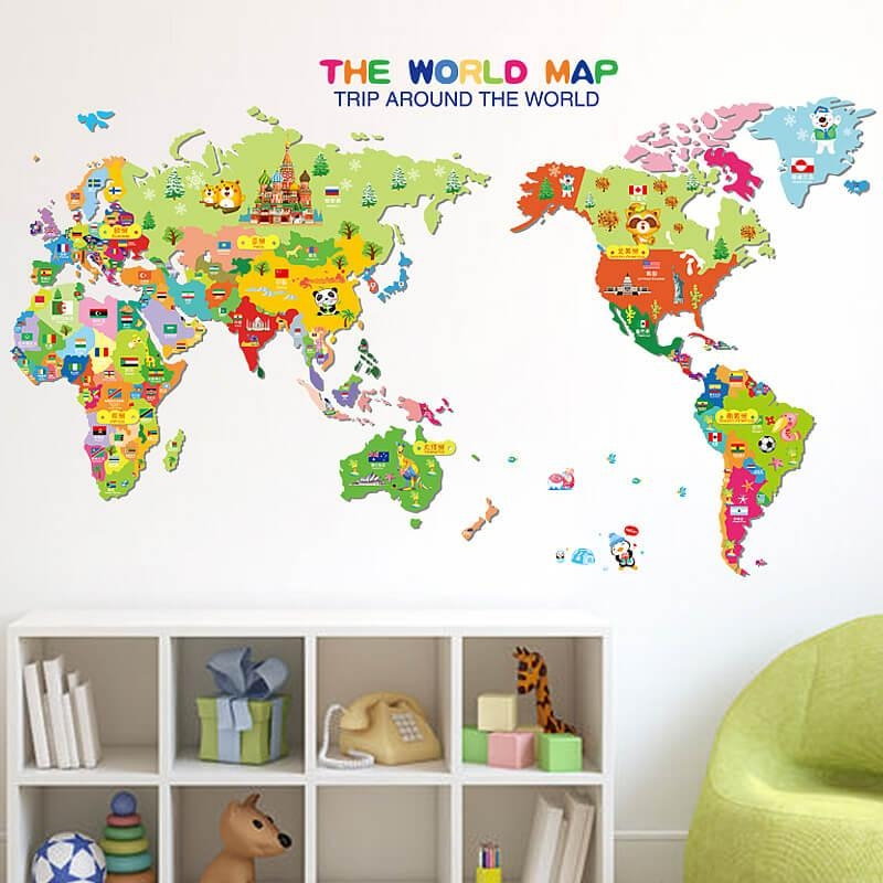 20 Best Collection of World Map Wall Art Stickers