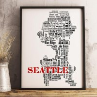 20 Best Collection of Seattle Map Wall Art | Wall Art Ideas