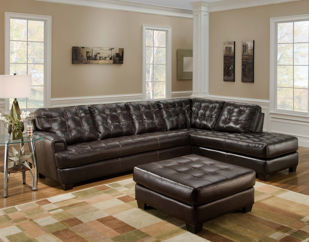 brown leather sectional sofa with chaise oxford bed 10 best ideas sectionals ottoman