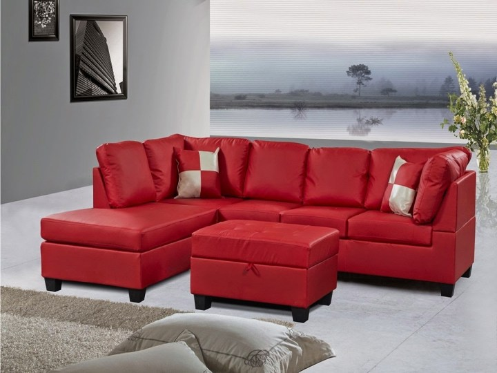 Red Couch Leather Sectional With Regard To Sofas Recliners