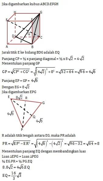 Jarak Titik Ke Bidang : jarak, titik, bidang, Contoh, Jarak, Titik, Garis, Balok, Kumpulan, Pelajaran