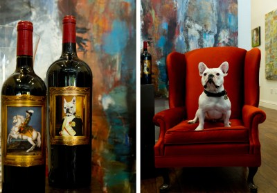 2 photos of Frenchie wine and Frenchie dog on red chair