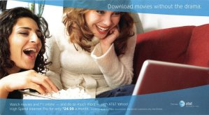 AT&T ad with two women laughing, watching a movie