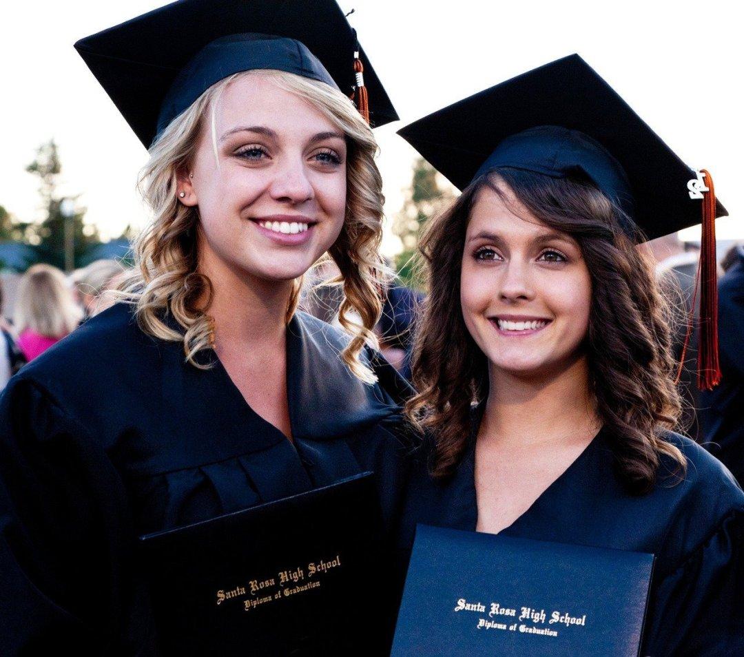 High school graduation of two pretty girls