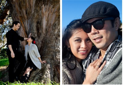 Two engagement photos of happy couple