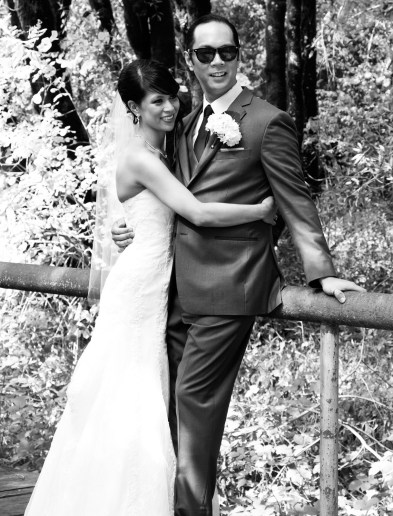 Bridge and groom in black and white candid