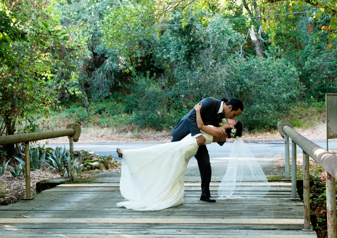 Bride and groom doing a drop stance