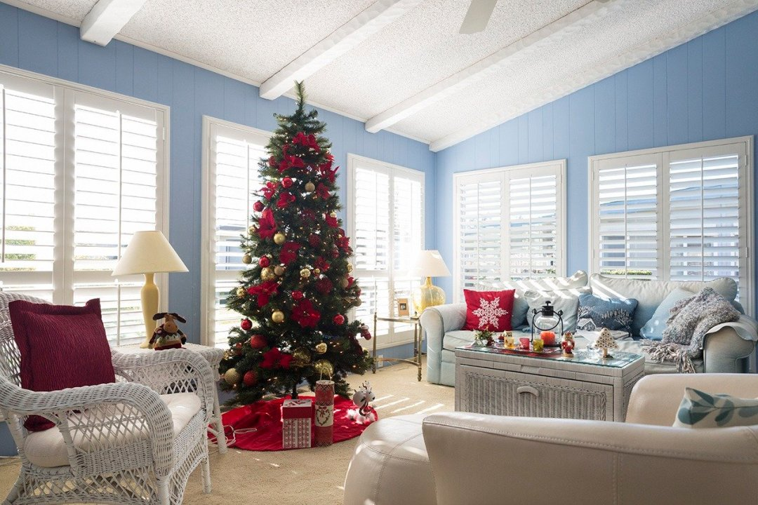 Christmas tree in beautiful living room