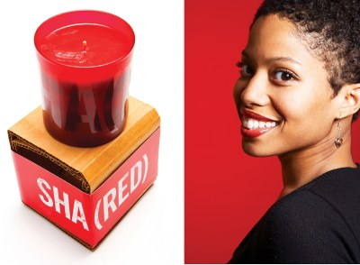 2 photos: 1 Product (The Gap), 2 headshot of woman on red