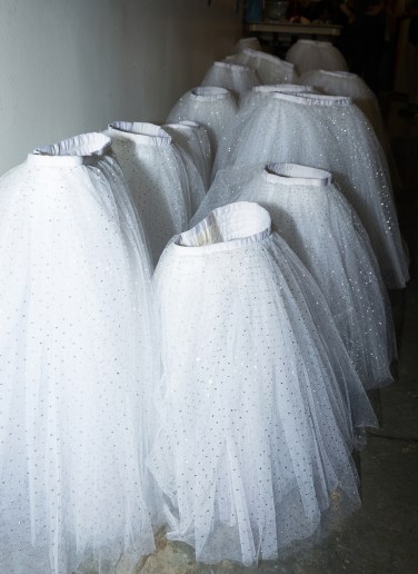 Long white tutus standing back stage