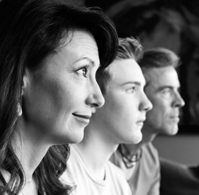 Family portrait in profile- black and white
