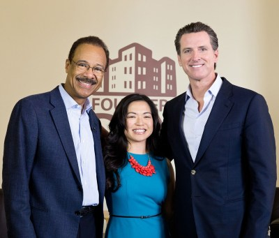Spencer Christian, Kathrina Miranda and Gavin Newsom